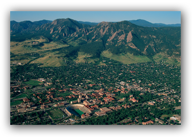Aerial photo of Boulder and Flatirons