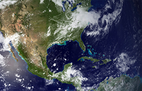 Satellite view of North America