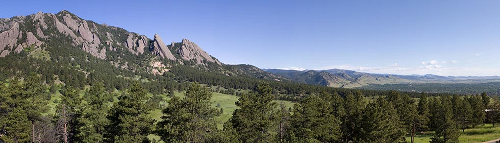 A panorama of the Flatirons in Boulder, Colorado, setting of the Heliophysics Summer School.