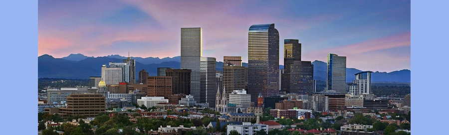 Denver cityscape with mountains in background