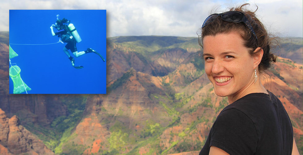 Photo of woman, mountains in the background, and inset of scuba diving