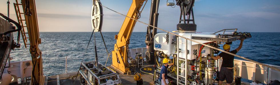 Scientific equipment onboard a ship
