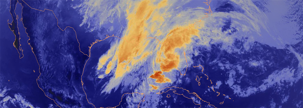 Satellite infrared map of central america